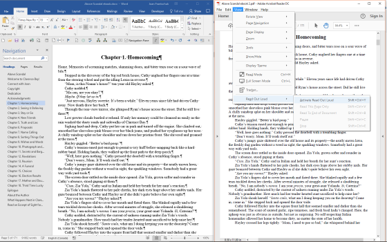 Word and Acrobat Reader side-by-side
